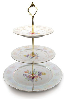 Royalty Porcelain 3Tier Round Gold-plated Cake and Cupcake Stand Dessert Display