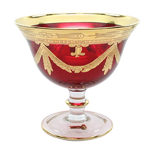 Italian Collection Crystal Campana Red Centerpiece Bowl, Gold Rim, Vintage