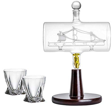 'Magellan' Decanter 40 Oz with Ship inside, Wooden Stand, Bar Funnel, 2 Glasses