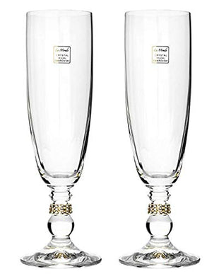 Italian Collection Crystal Champagne Flute Glasses 2-pc, Gold Swarovski Crystal