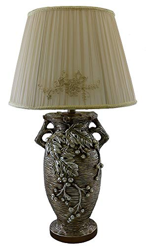 (D) Table Lamp in Shape of Greek Vase with Grape Leaves 29 Inches, Desk Lamp