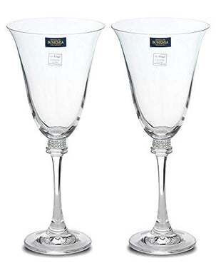 Italian Collection Crystal Champagne Flute Glasses 2pc, Silver Swarovski