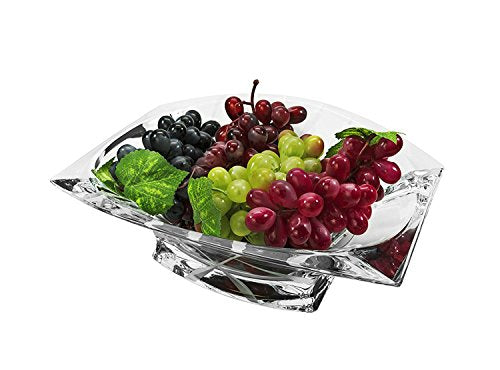 Bohemia Collection Decorative Crystal Fruit Bowl Omnia 12-in, Centerpiece Bud