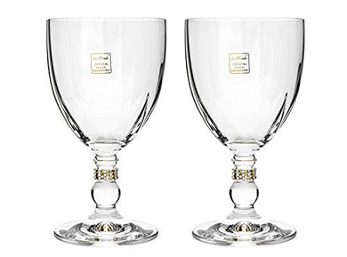 Italian Collection Crystal Wine Glasses Set 2-pc, Gold Swarovski Crystal 6 Inch