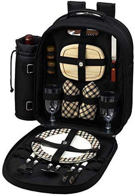 (D) 2 Person Picnic Backpack Bag, Full Equipment Set for Outdoor (Black London)
