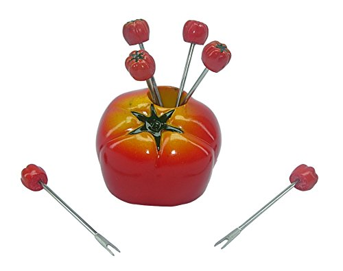 (D) 7-pc Cute Fruit Picks Set Tomato for Home Party Decoration and Tableware