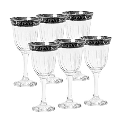 Italian Collection Crystal 12 Oz Wine Glasses, Silver Rim, Greek Key Pattern