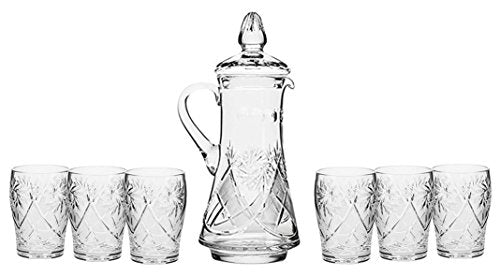 Set of 7 50-Oz Hand Made Vintage Cut Crystal Beverage Carafe with 6 Tumblers