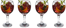 SET of 4pc Luminarc 'Cheerful' Crystal-Clear Burgundy Goblets, Wine Glasses 9 Oz