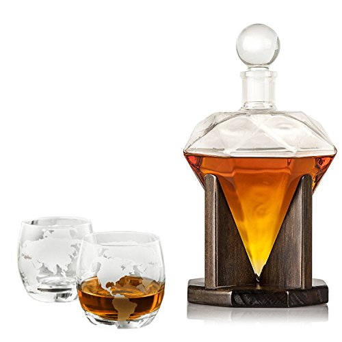 Large 40 Oz 'Diamond' Whisky Carafe Liquor Decanter Set with Wooden Stand