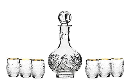 Set of 7 12-Oz Hand Made Vintage Cut Crystal Liquor Decanter Set, 6 Shot Glasses