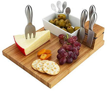 (D) Bamboo Cheese Board Wooden Board with Stainless Steel Serving Tools and Dish