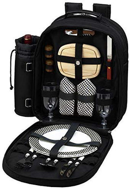(D) 2 Person Picnic Backpack Bag, Full Equipment Set for Outdoor (Black)