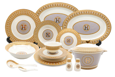Royalty Porcelain 44-pc Dinner Set, Mosaic, 24K Gold Plated Bone China Porcelain