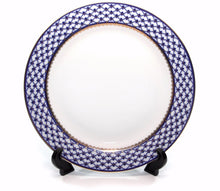 "SET of 6 Dinner Plates 10.5"" Lomonosov Porcelain - Russian Cobalt Blue Net, 24K"