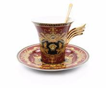 Royalty Porcelain 6-pc Red Tea Set, Service for 2, Medusa Greek Key, 24K Gold