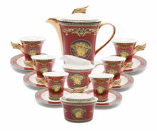 Royalty Porcelain 17-pc Luxury Floral Red Tea Set for 6, Greek Key Gold Medusa