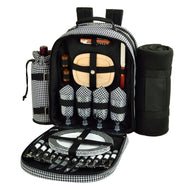 (D) Four Person Picnic Backpack Bag, Full Equipment Set with Blanket (Houndstooth)