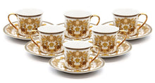 Royalty Porcelain 12-pc Luxury White Greek Key Mini Espresso Turkish Coffee SET