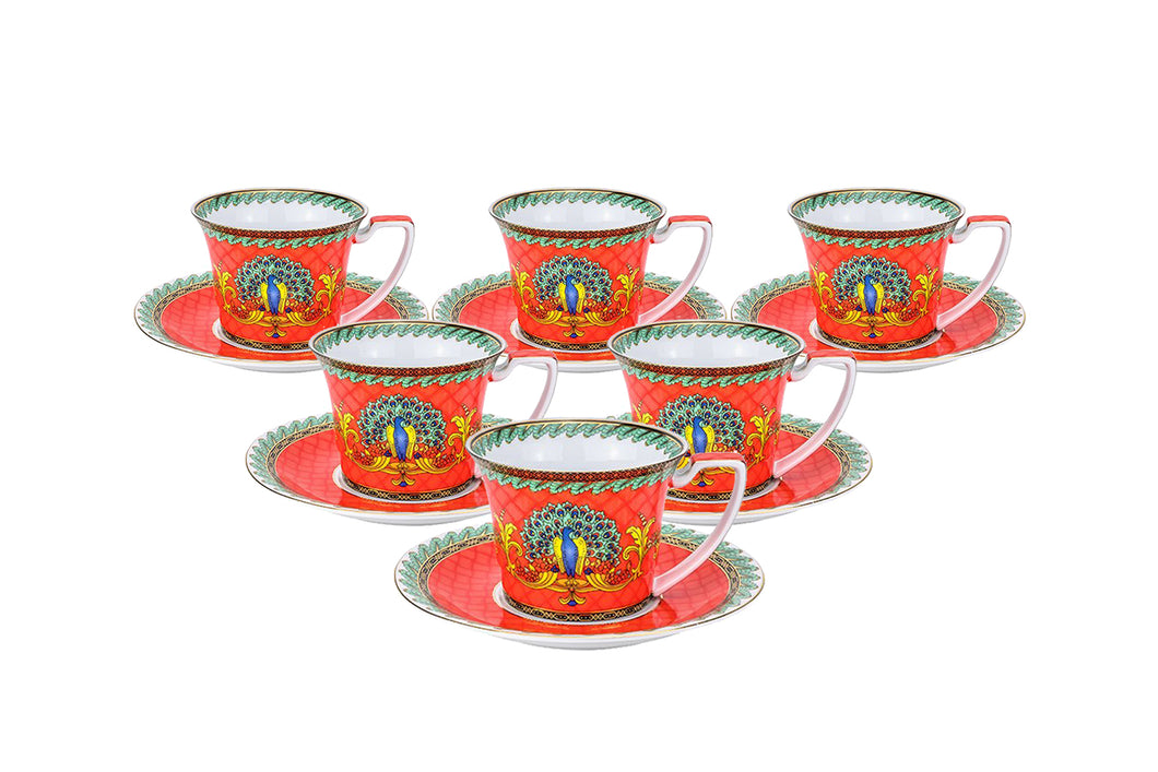 Royalty Porcelain Luxury Tea or Coffee Cup Set, 24K Gold (12 PC, Red Peacock)