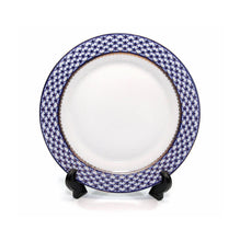 "SET of 6 Dessert Plates 7.5"" Lomonosov Porcelain - Russian Cobalt Blue Net, 24K"