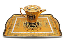Royalty Porcelain 10-pc Yellow Dining Tea Set with Tray, Luxury Greek Key Medusa