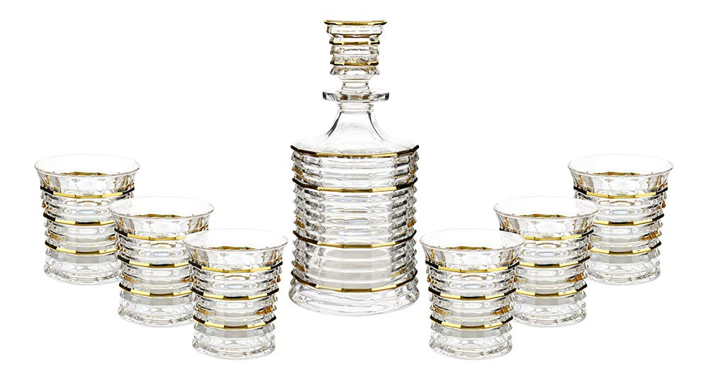 (D) Crystal Decanter and Six Liquor DOF Glasses Set with 24K Gold Lines 7-pc