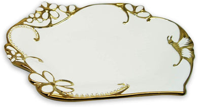 Royalty Porcelain Round Salad Bowl or Pasta, White Plate with Gold Butterfly (A)