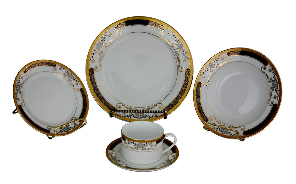 (D) Royalty Porcelain Black and Gold Pattern With Flowers Plate, Saucer and Cup Dinnerware Set 40-pc