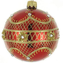 (D) Shiny Red 4-pc Holiday Ornament Set, Christmas Tree Decoration