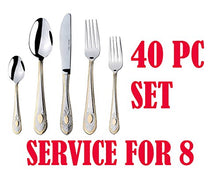 Italian Collection 40pc Premium Flatware Set For 8, 24K Gold-Plated (Windsor)