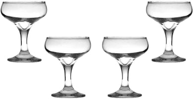 Kouros Champagne Coupe Glasses 6 Oz, Modern Crystal Clear Glassware Set of (4)
