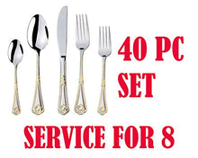 Italian Collection 40-Pс Premium Flatware Set, Service for 8, 24K Gold-Plated