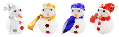 (D) Ornament 4pc, Handcrafted Christmas Tree Decoration Assorted Snowmen 5 Inch