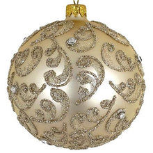 (D) Champagne Stones 4-pc Round Holiday Ornament Set, Christmas Tree Decoration