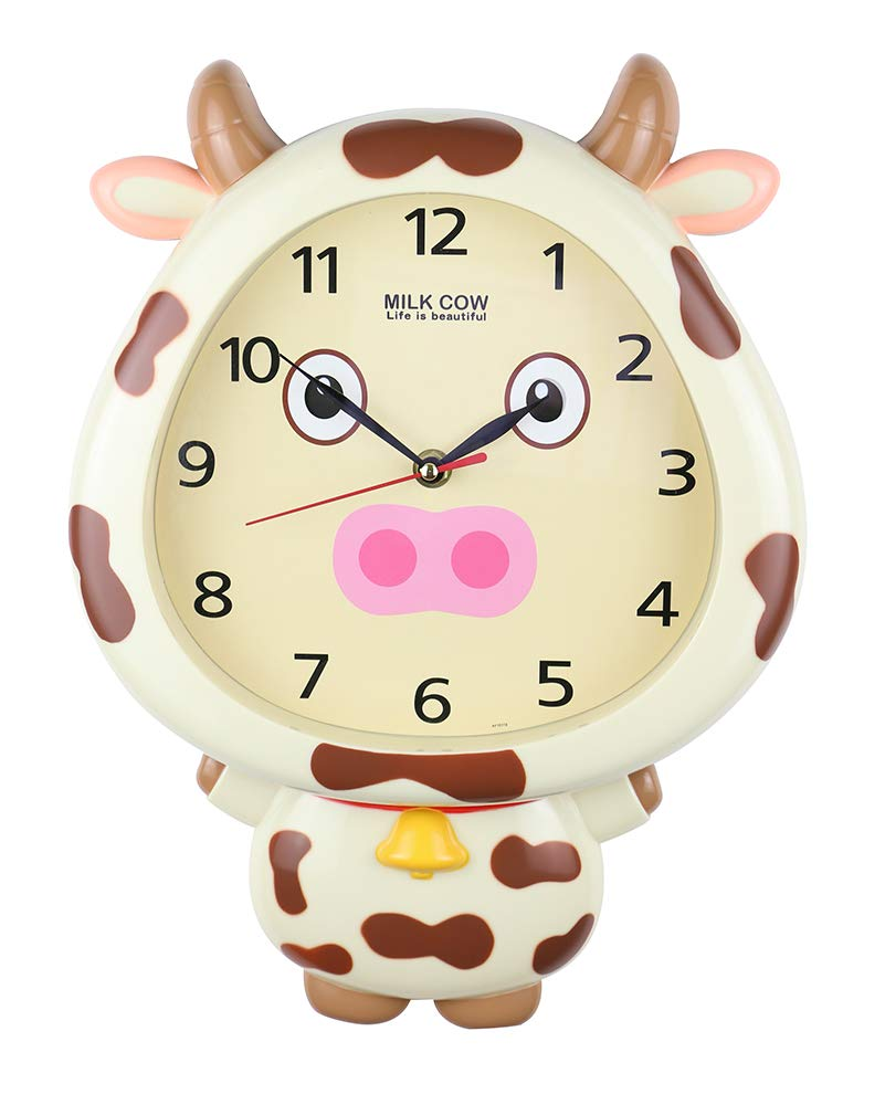 (D) 14x10 Milky Cow Cream Wall Clock for Kids' Room (Cream)