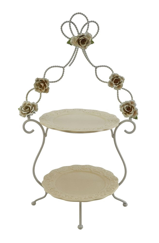 (D) 2-Tiered Ivory Serving Platter Stand 21x13 Inches