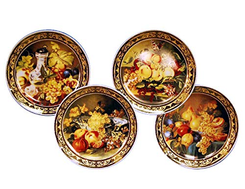(D) Royalty Porcelain 4-pc Hand Painted Wall Plates Still Lifes with Fruits