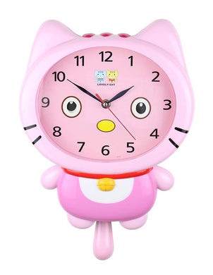 (D) 15x10 Pink Cat Wall Clock for Kids' Room (Pink)
