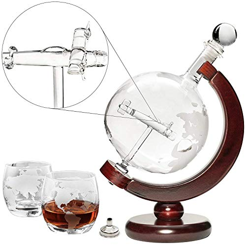Plane Liquor Decanter 50oz Set with Wooden Stand, 2 Globe Glasses and Bar Funnel