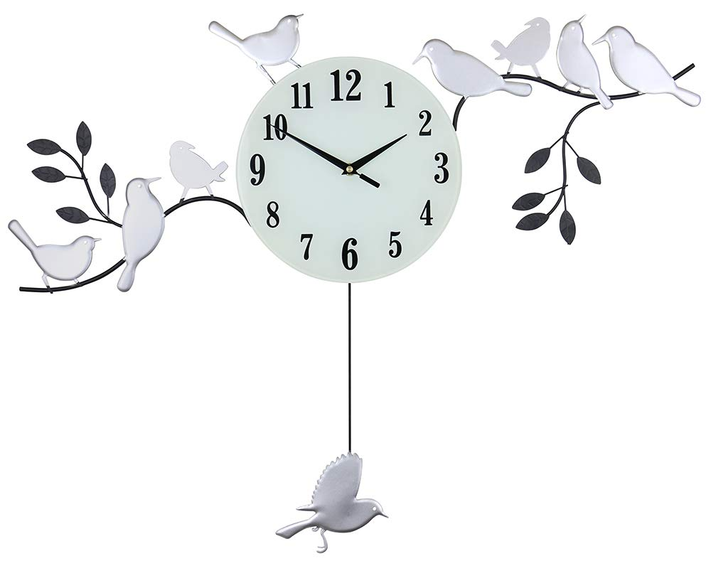 (D) Exquisite Wall Clock with Birds 30x23 inches