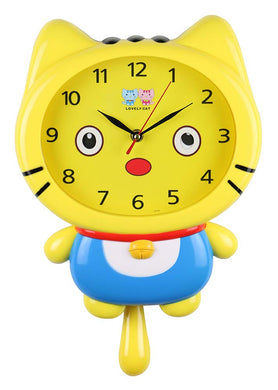 (D) 15x10 Yellow Cat Wall Clock for Kids' Room (Yellow)