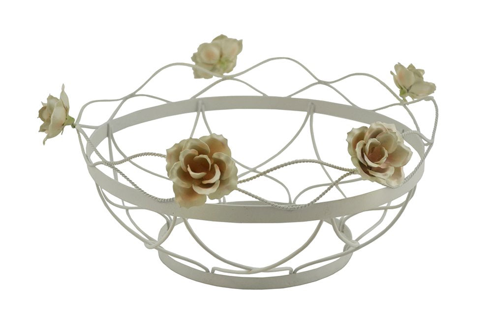 (D) Elegant Round Mesh Bowl Decorated with Roses 12 x 5 Inches