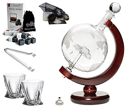 'Car' Whisky Liquor Etched Globe Decanter 50 Oz and Diamond Glasses Mega Set
