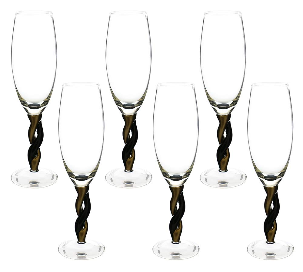 (D) Wine Flute Glasses with Gold and Black Stem 6-pc Set, Modern Style Glassware