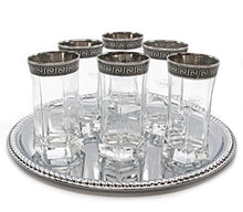 Italian Collection Crystal 12oz Beverage Highball Tumblers, Silver Rim Greek Key