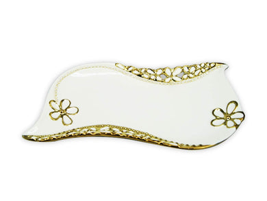 Royalty Porcelain Salad Bowl, Serving Dish white Plate with Gold Flowers (6952)