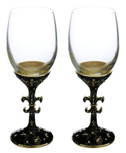 (D) Pair of Crystal Wine Stem Glasses Fleur De Lis, Modern Style Glassware