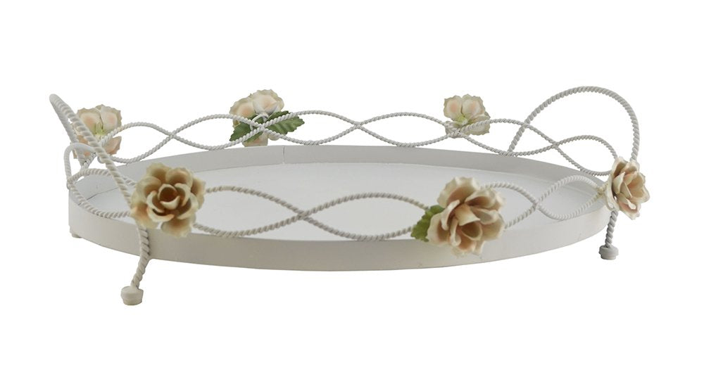 (D) Ornate Oval Mesh Tray Decorated with Roses 18 x 13 Inches