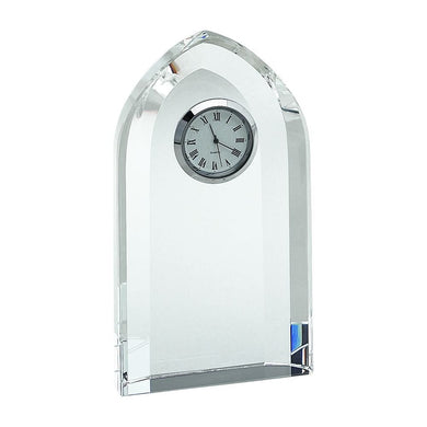 (D) Optic Crystal Arched Table Clock 6 inches, Roman Numerals Desk Clock